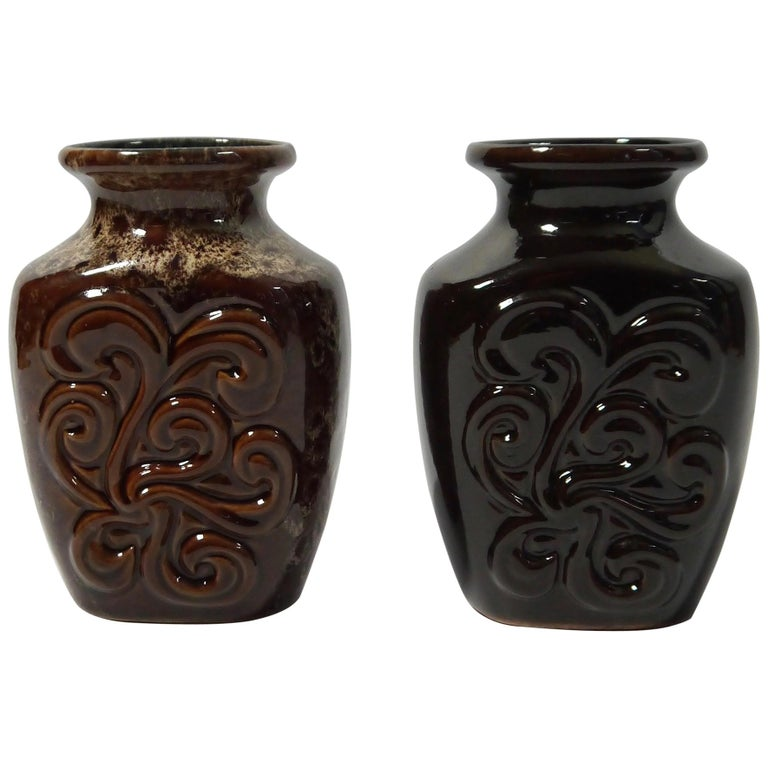 Pair of Fat Lava German Pottery Vases by Strehla, East Germany, 1960s For Sale
