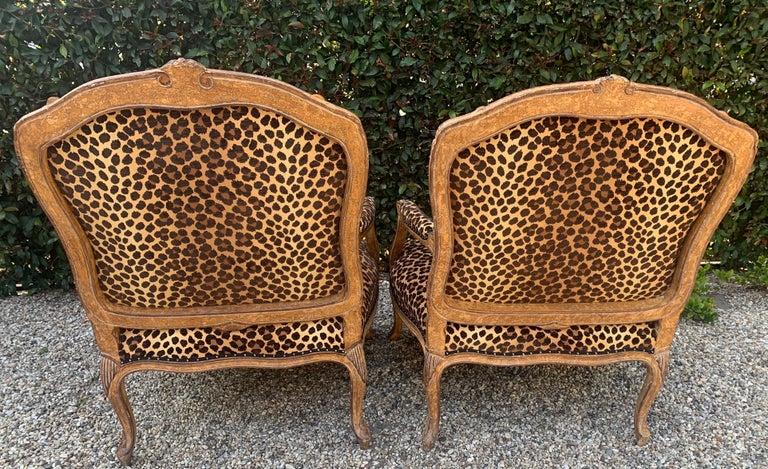 Velvet Pair of Fauteuils a La Reine For Sale