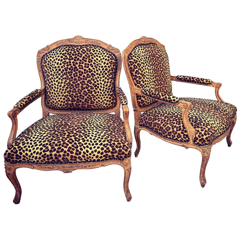 Pair of Fauteuils a La Reine in Leopard Upholstery For Sale