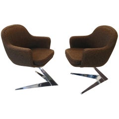 Pair of Fauteuils Attributed to Jacques Adnet for Air France Boardroom