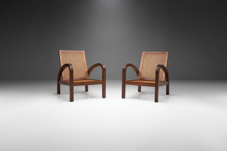 "Mid-Century Modern Pair of ""Fauteuils de Paquebot"" Chairs, France, 1950s For Sale"