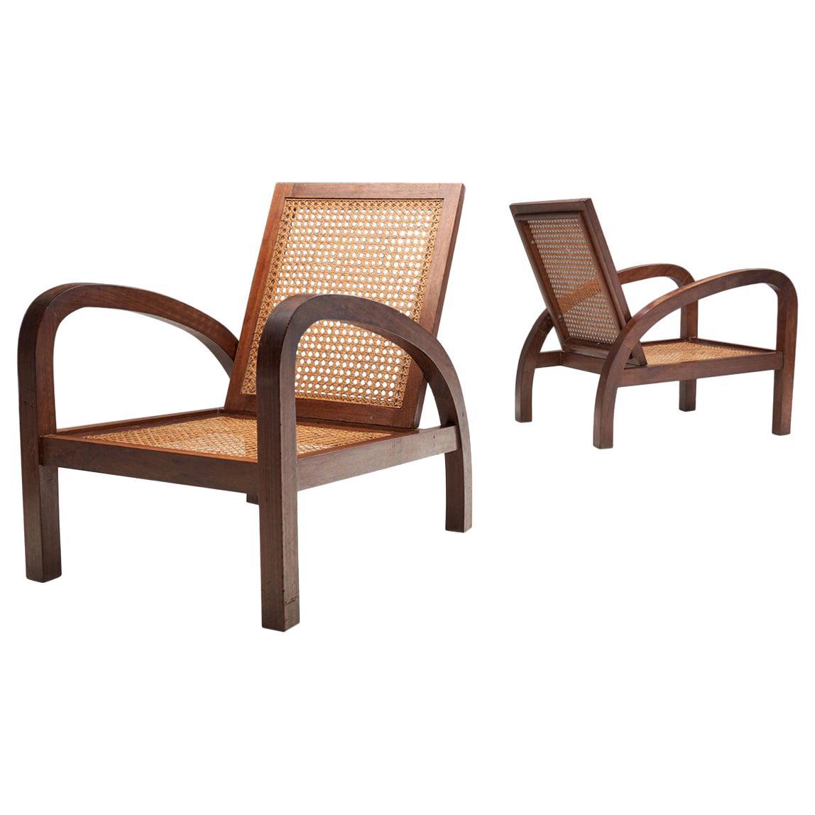 """Pair of """"Fauteuils de Paquebot"""" Chairs, France, 1950s"""