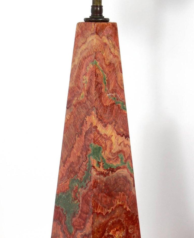 Hollywood Regency Pair of Faux Agate Obelisk Lamps For Sale