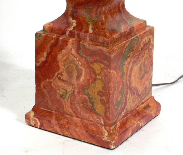 American Pair of Faux Agate Obelisk Lamps For Sale