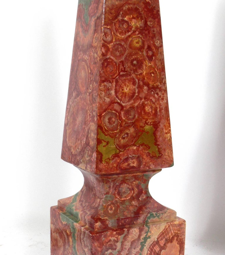 Painted Pair of Faux Agate Obelisk Lamps For Sale