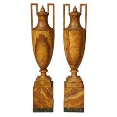 Pair of Faux Alabaster Amphora Urns