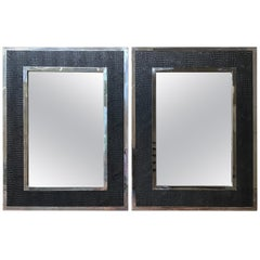 Pair of Faux Alligator and Stainless Mirrors