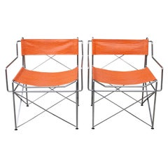 Pair of Faux Alligator Orange Chairs