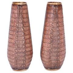 Pair of Faux Alligator Vases