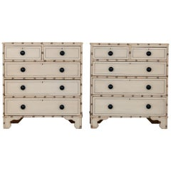 Pair of Faux Bamaboo Chests oF Drawers