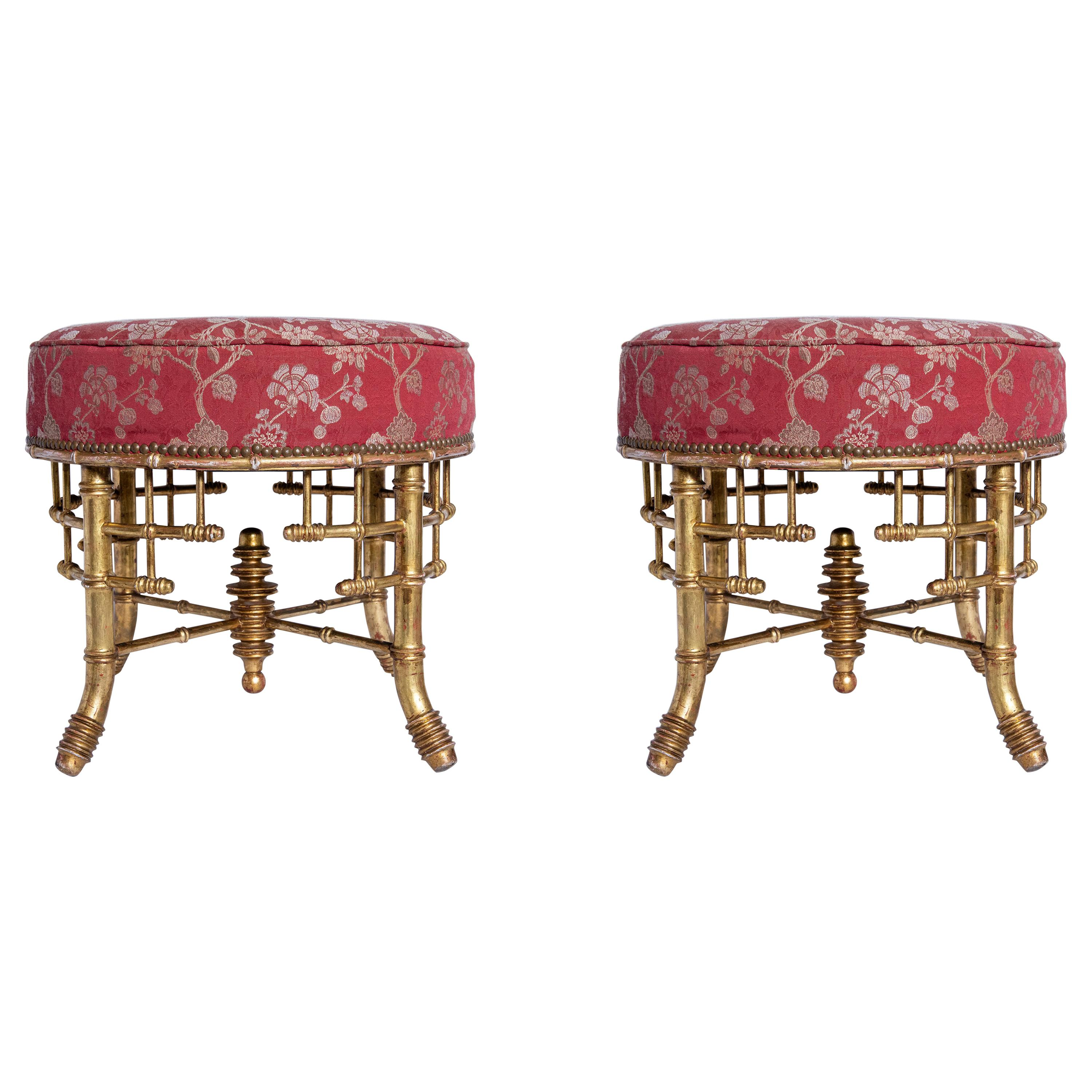 Pair of Faux Bamboo and Gold Leaf Stools. England, Late 19th Century