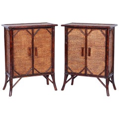 Pair of Faux Bamboo and Grasscloth British Colonial Style Cabinets or Stands