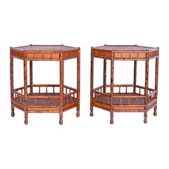 Pair of Faux Bamboo and Grasscloth Tables