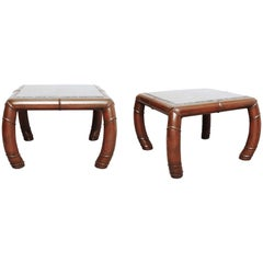 Pair of Faux Bamboo and Grey Marble Side Tables