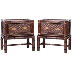 Pair of Faux Bamboo and Rattan British Colonial Chests on Stands or Tables