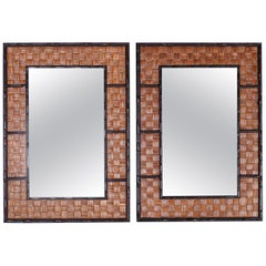 Pair of Faux Bamboo and Wicker Mirrors