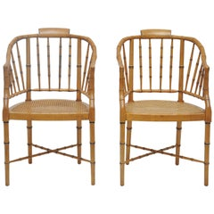 Pair of Faux Bamboo Baker Club Chairs