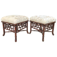Pair of Faux Bamboo Benches
