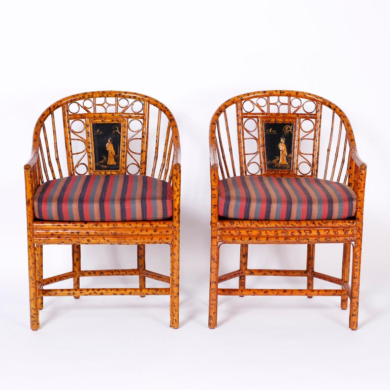British Colonial Pair of Faux Bamboo Brighton Pavilion Chairs