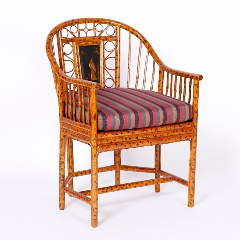Pair of Faux Bamboo Brighton Pavilion Chairs In Good Condition In Palm Beach, FL