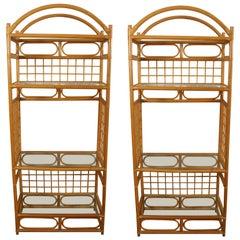 Pair of Faux Bamboo Étagères