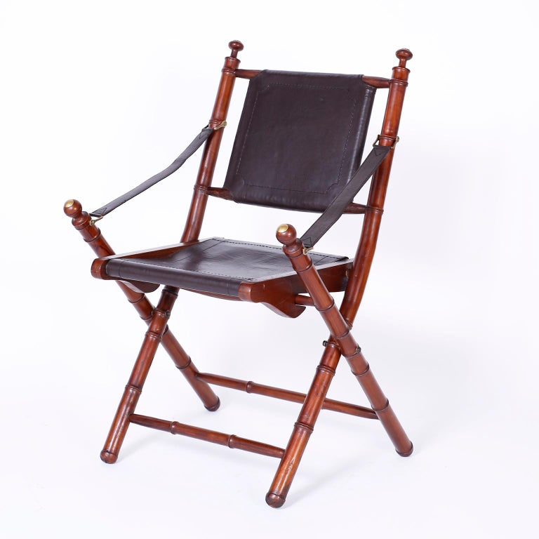 British Colonial Pair of Faux Bamboo Folding Safari Chairs For Sale