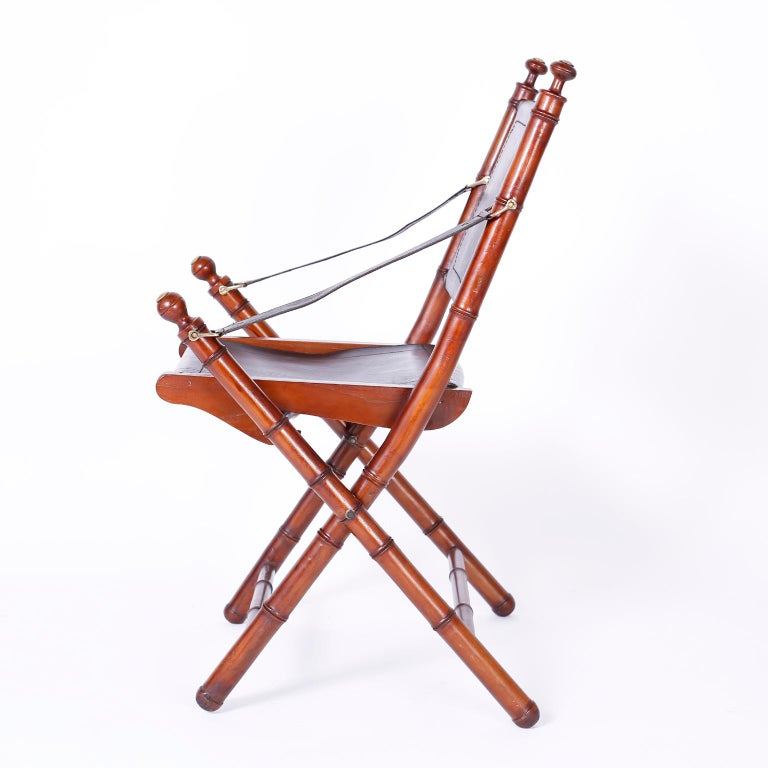 Indonesian Pair of Faux Bamboo Folding Safari Chairs For Sale