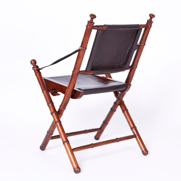 Pair of Faux Bamboo Folding Safari Chairs In Good Condition For Sale In Palm Beach, FL