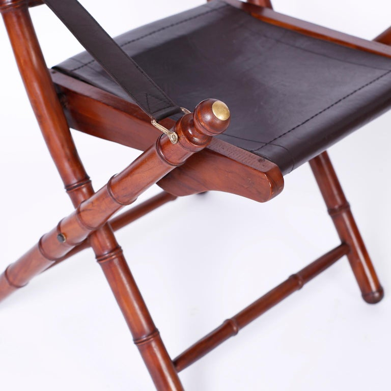 20th Century Pair of Faux Bamboo Folding Safari Chairs For Sale