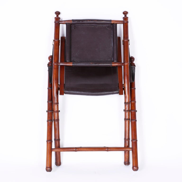 Pair of Faux Bamboo Folding Safari Chairs For Sale 3