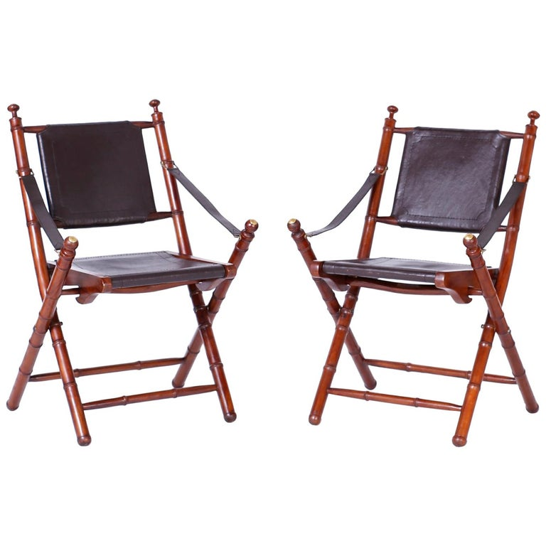 Pair of Faux Bamboo Folding Safari Chairs For Sale