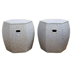 Pair of Faux Bamboo Garden Stools
