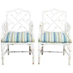 Pair of Faux Bamboo Painted and Upholstered Armchairs