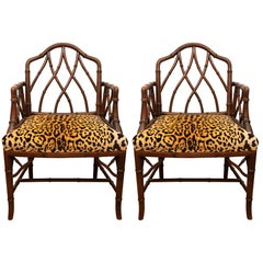 Pair of Faux Bamboo Side Chairs