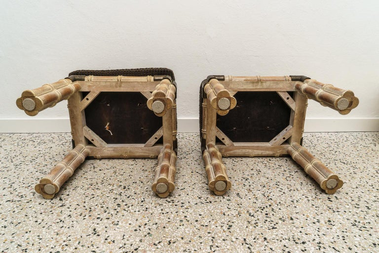 Pair of Faux Bamboo Stools For Sale 6