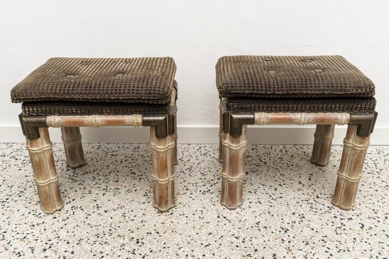 Organic Modern Pair of Faux Bamboo Stools For Sale