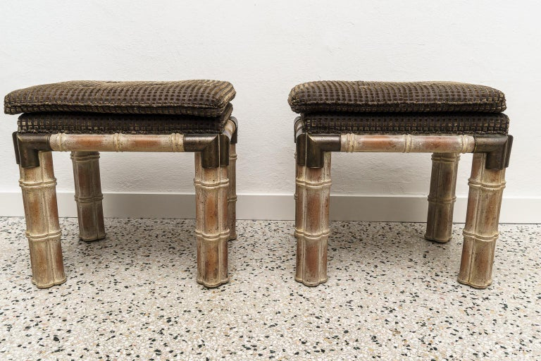 American Pair of Faux Bamboo Stools For Sale