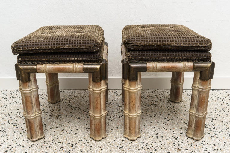 Hand-Crafted Pair of Faux Bamboo Stools For Sale