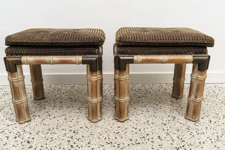 Pair of Faux Bamboo Stools In Good Condition For Sale In West Palm Beach, FL