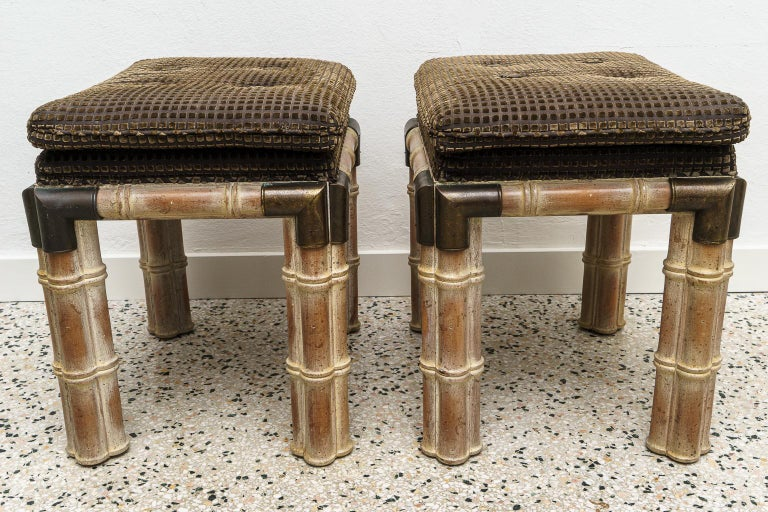 Late 20th Century Pair of Faux Bamboo Stools For Sale
