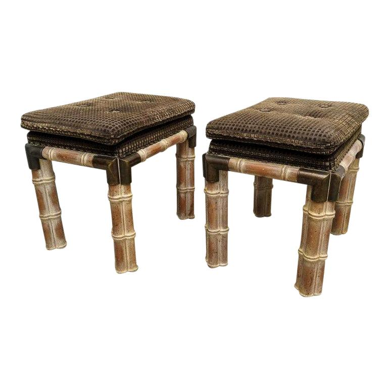 Pair of Faux Bamboo Stools