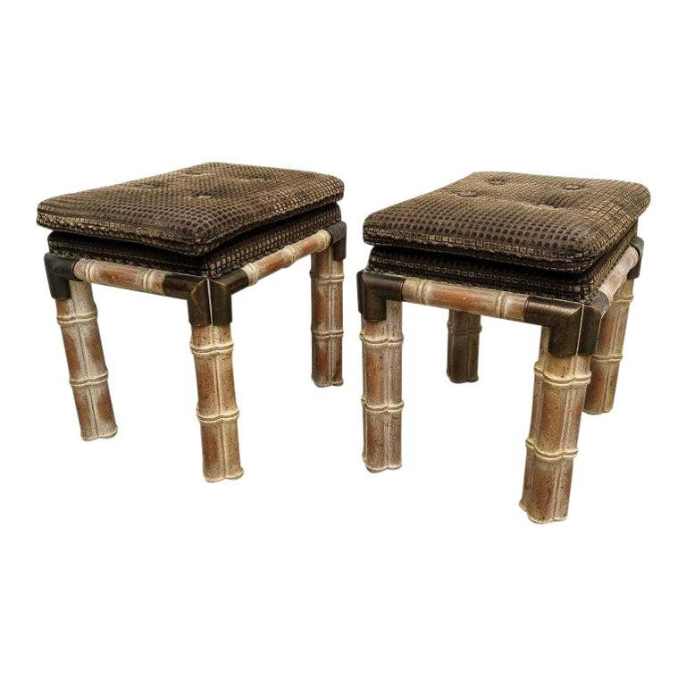 Pair of Faux Bamboo Stools For Sale