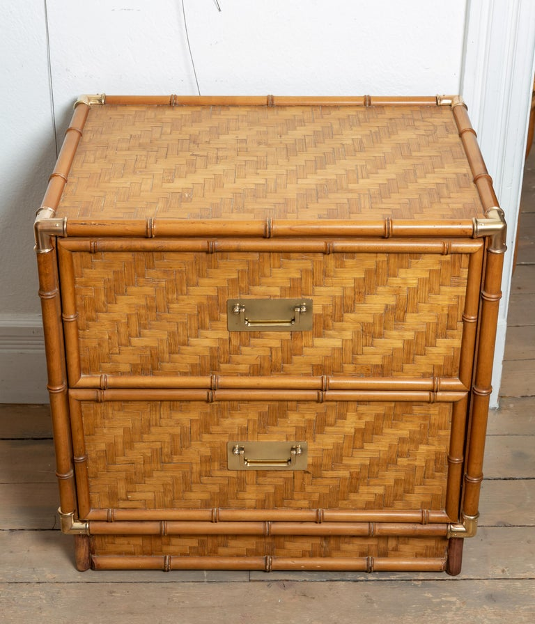 Mid-Century Modern Pair of Faux Bamboo, Woven Rattan Two-Drawer Nightstands with Brass Details