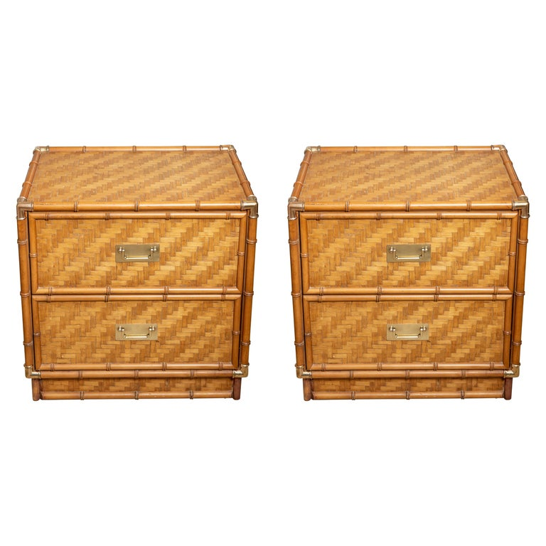 Pair of Faux Bamboo, Woven Rattan Two-Drawer Nightstands with Brass Details