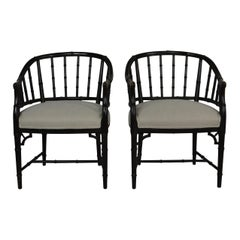 Pair of Faux Bamboo Wrap Around Armchairs