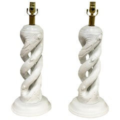 Pair of Faux Bois Barley Twist White Lacquered Lamps