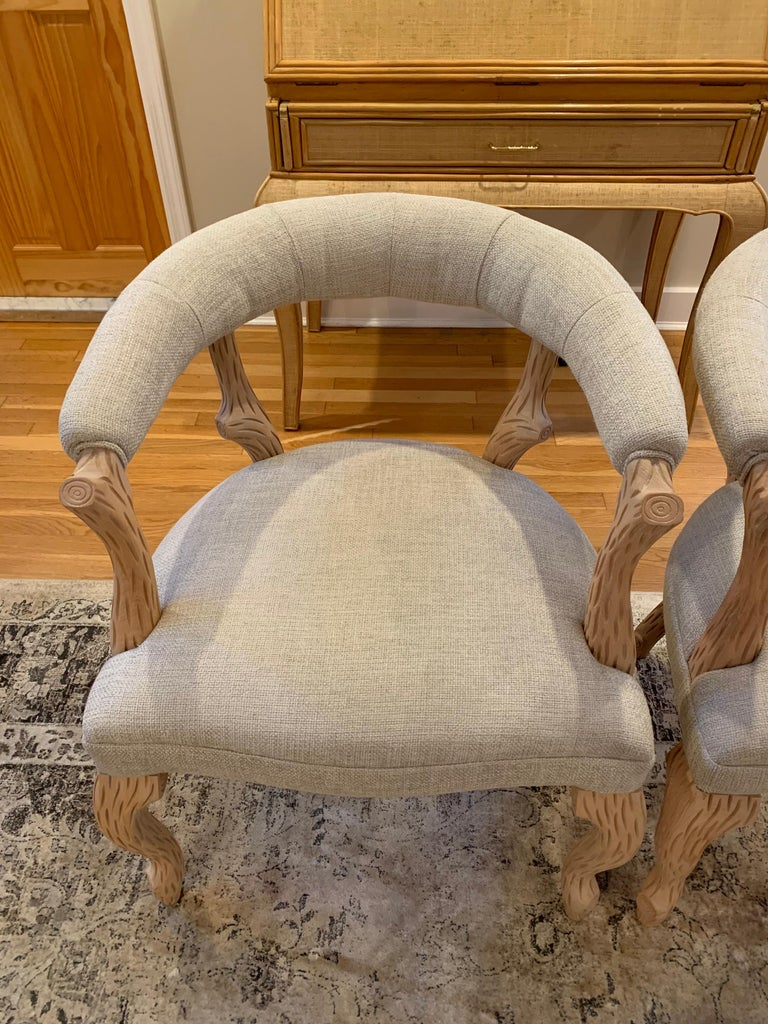 Pair of Faux Bois Bleached Armchairs For Sale 3
