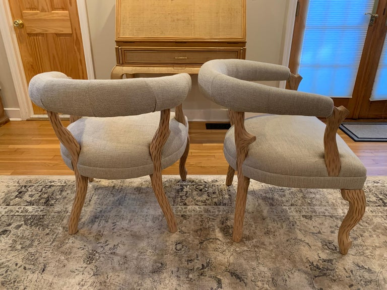 French Provincial Pair of Faux Bois Bleached Armchairs For Sale