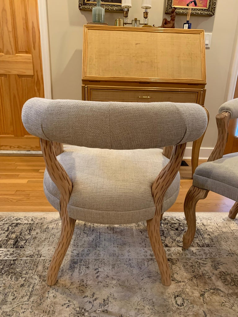 American Pair of Faux Bois Bleached Armchairs For Sale