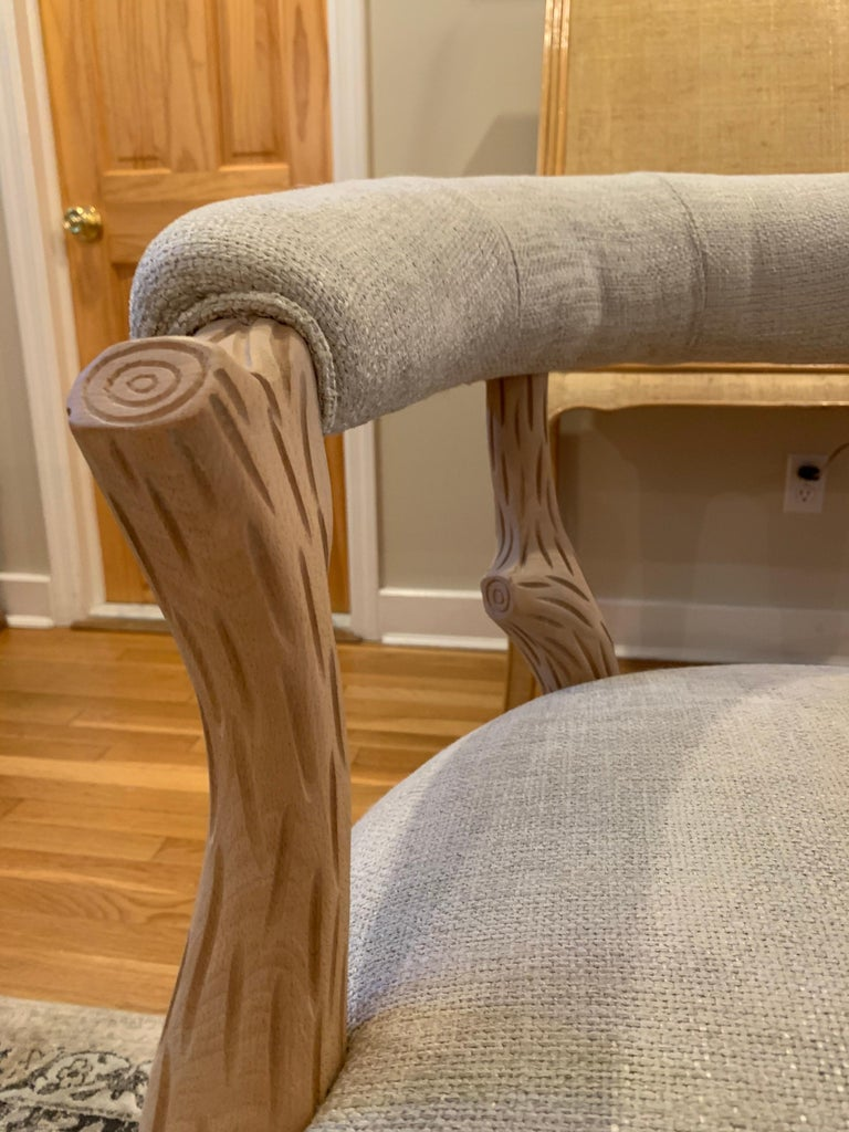 Late 20th Century Pair of Faux Bois Bleached Armchairs For Sale